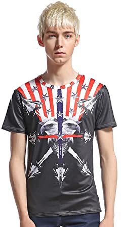 Whatlees Unisex Digital Printing Schmale Passform T Shirts mit Bunt  Karikatur 3D USA Adler Druck Muster