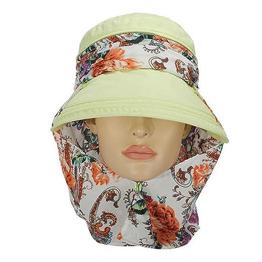 4bc7ce4efd077 Cotton Foldable Sun Floppy Sunblock Hat Visor With Neck Cover Cord For  Women (Flower-