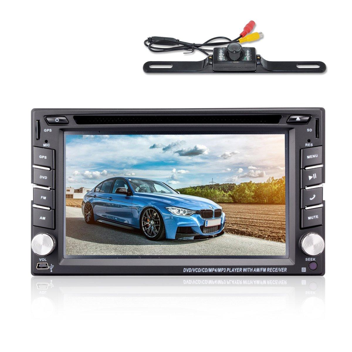 "Amazon.com: 6.2"" Double DIN Car Stereo Car GPS Navigation - Ehotchpotch Car  Radio Head Units Touch Screen Car DVD Player in-Dash Car Audio AM/FM Radio  ..."