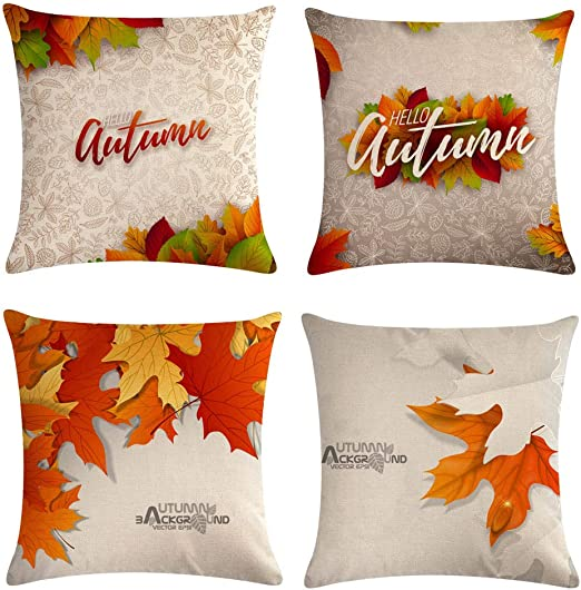 Whaline 4 Pieces Autumn Pillow Case New Than.. Fall Maple Leaves Pillow Cover