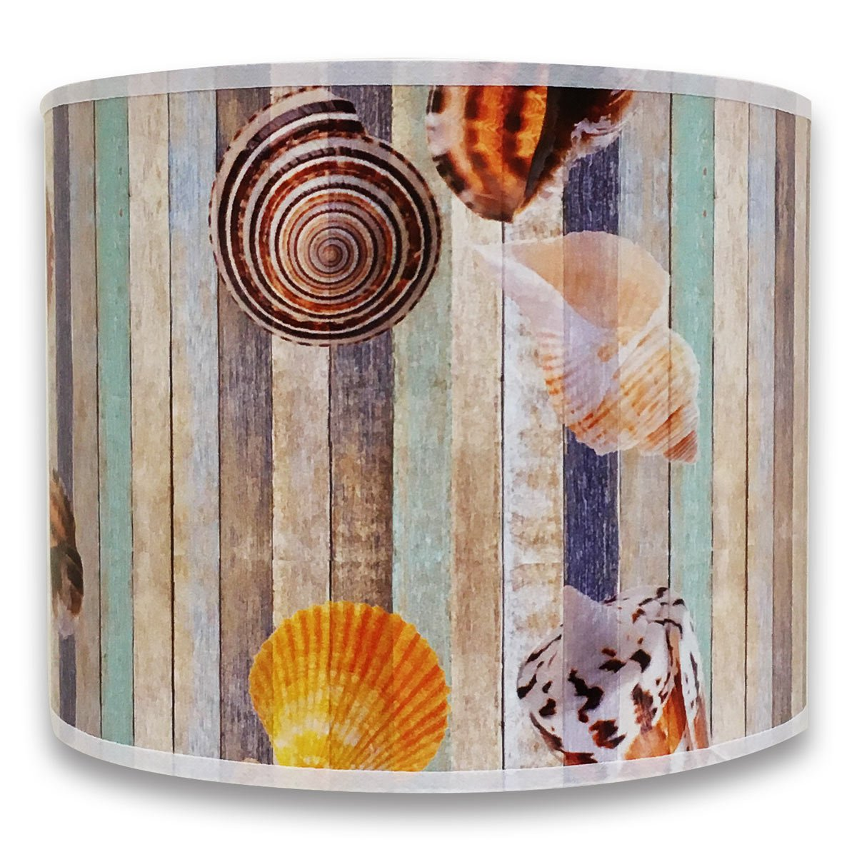 Royal Designs Modern Trendy Decorative Handmade Lamp Shade - Made in USA - Sea Shell on Colorful Wood Design - 10 x 10 x 8