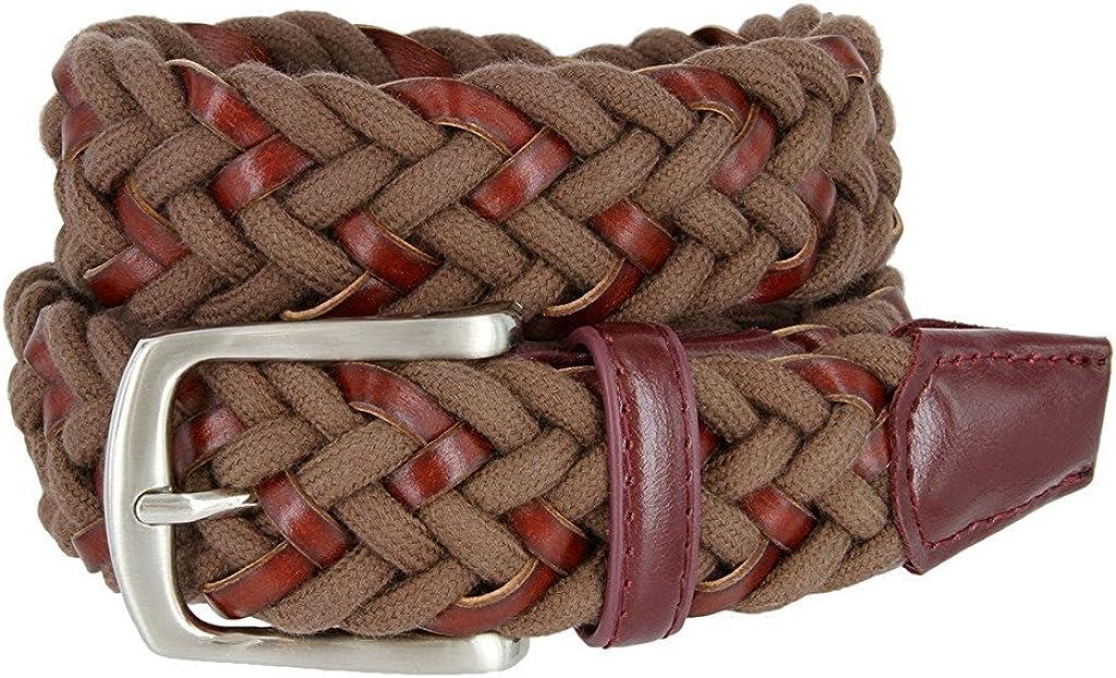 Hagora Men Interwoven Bonded Leather /& Cotton Leather Tabs Silver Buckle Belt
