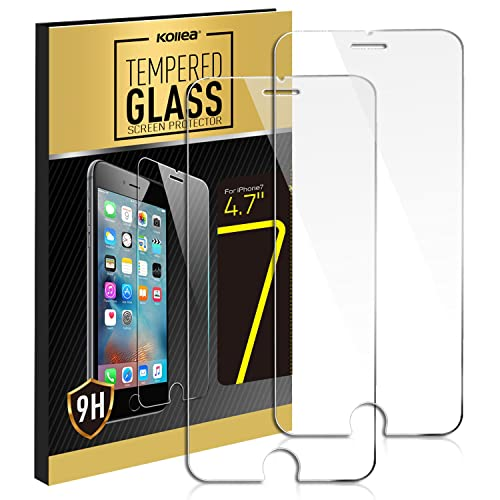 iPhone 7 Screen Protector, Kollea 2-Pack iPhone 8 Premium Tempered Glass Screen Protector for iPhone 7 /8 - 4.7 inches [3D Touch, 0.3mm, 9H Hardness]