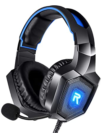 RUNMUS Gaming Headset PS4 Headset with 7 1 Surround Sound, Xbox One Headset  w/ Noise Canceling Microphone & LED Light, Compatible with PS4, Xbox One,