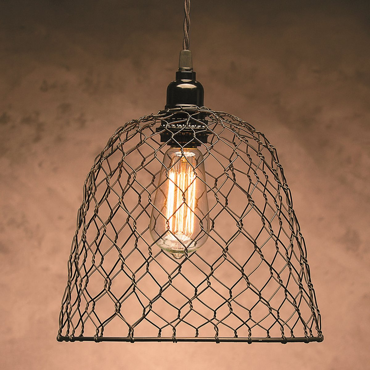 Cleveland Vintage Lighting 30397A Chicken Wire Shade, Metal, Dome 10 x 8.25 inches, Black