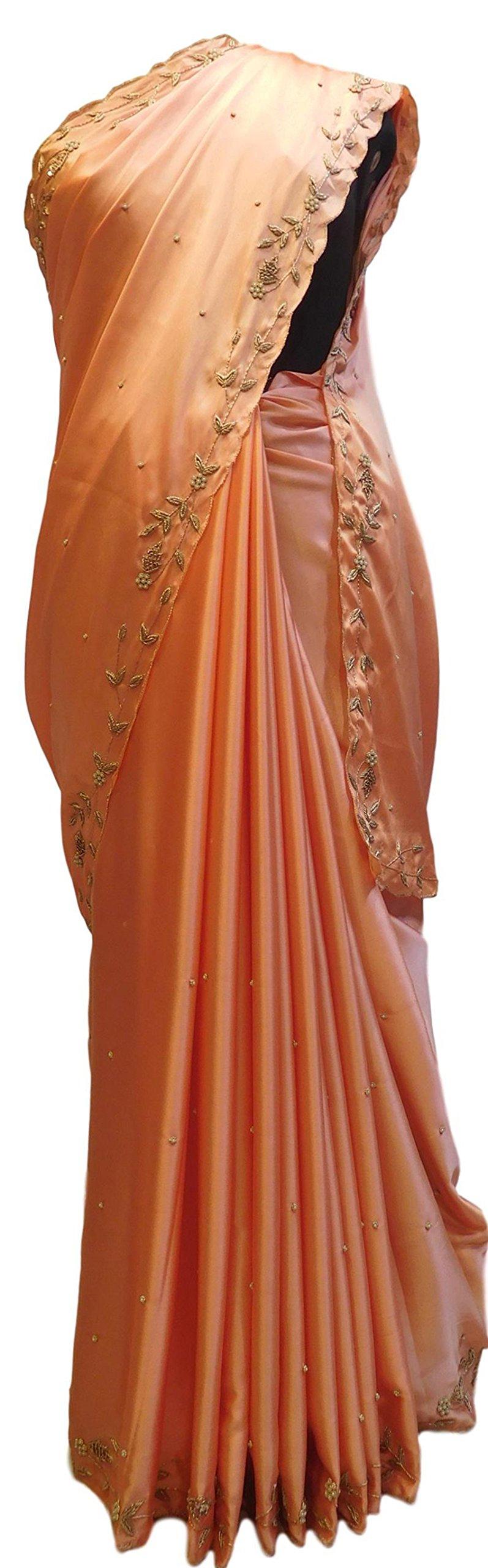 SMSAREE Peach Designer Bridal PartyWear Silk Bullion Pearl Beads Stone Work Wedding Cutwork Border Saree Sari E030