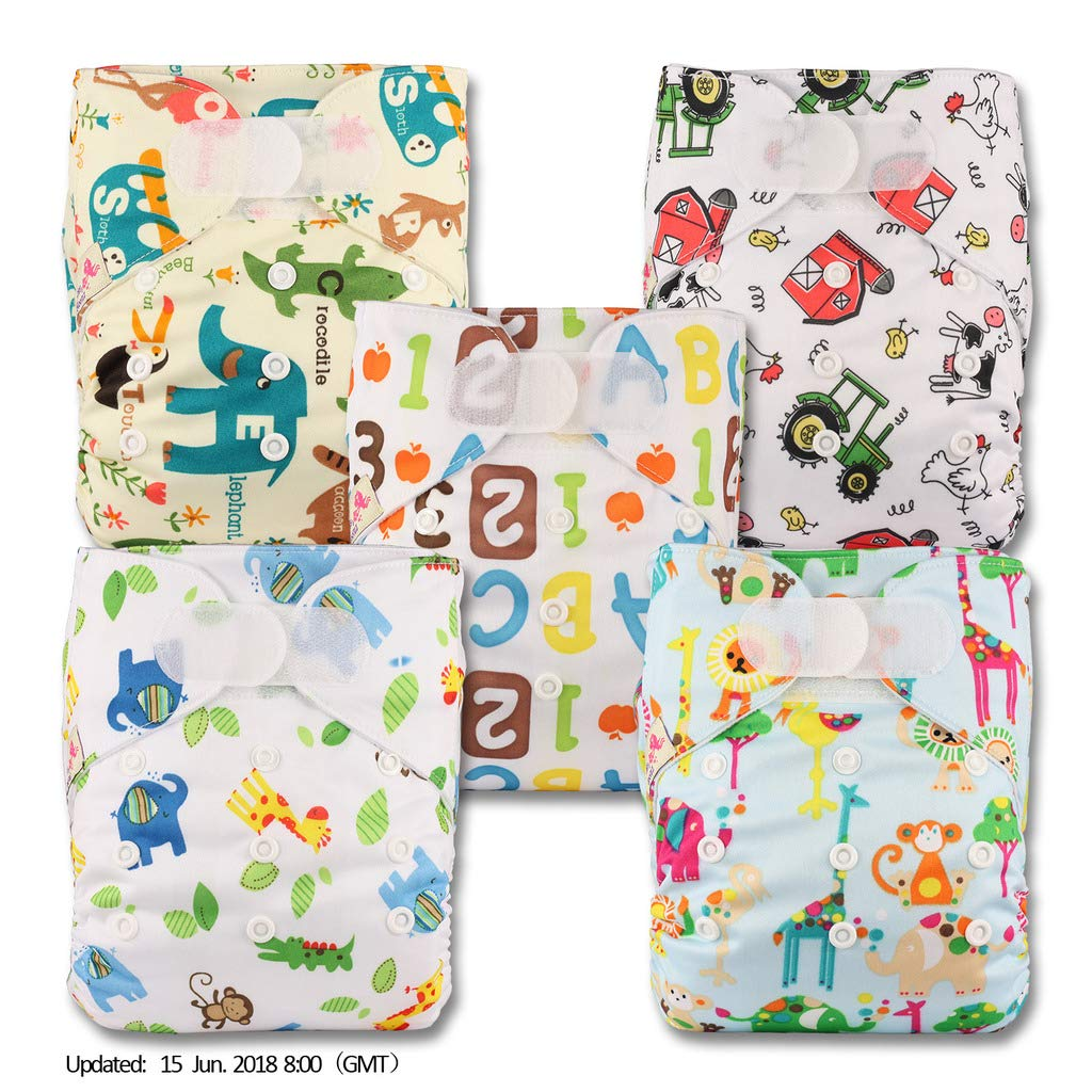 Without Insert Patterns 512 Set of 5 Reusable Pocket Cloth Nappy Littles /& Bloomz Fastener: Hook-Loop