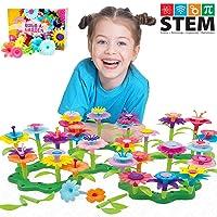 Kunmark Flower Building Toy Set, Garden Building Blocks Playset for Girls Boys, Educational Kids STEM Toys Creative - Stacking Game for Toddlers playset (98 PCS)