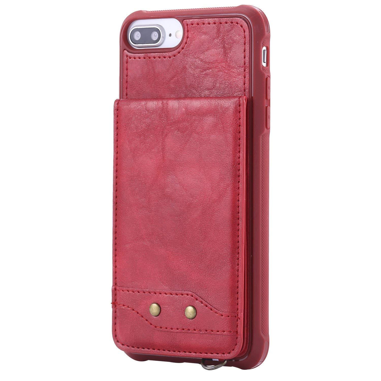 MoreChioce Coque iPhone 8 Plus,iPhone 7 Plus Coque Silicone Glitter, Ultra Mince Rouge Souple Paillette Strass Bling Bling Housse à Rabat Clapet Case Portefeuille Wallet pour iPhone 7 Plus / 8 Plus