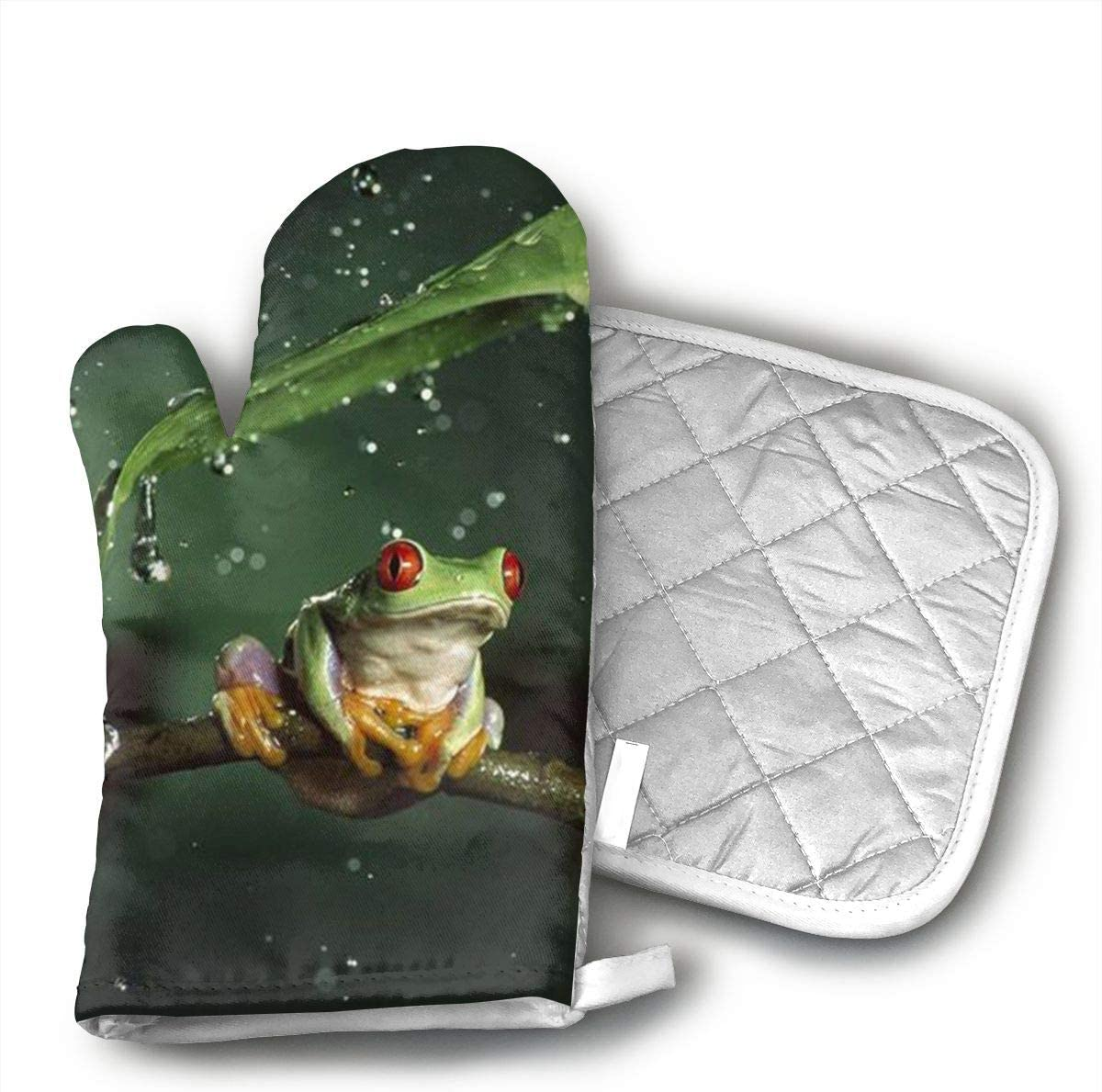 KEIOO Nature Rain Hylidae Jungle Animals Frogs Oven Mitts and Potholders Heat Resistant Set of 2 Kitchen Set Non-Slip Grip Oven Gloves BBQ Cooking Baking Grilling