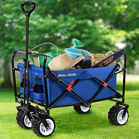 BEAU JARDIN Carretillas de Carro Plegable con Carro Plegable de Mano Carro Transporte para jardín Carro para Playa Carga hasta 100kg Azul: Amazon.es: Hogar