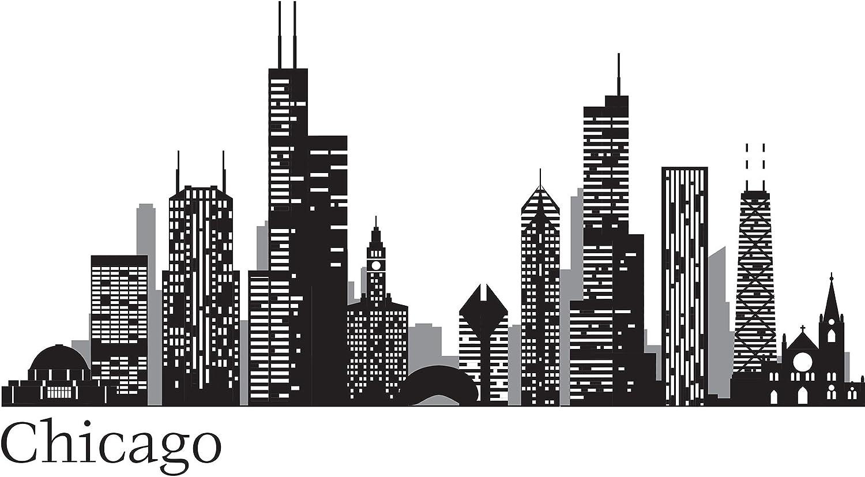 WallPops WPK2519 Chicago Cityscape Wall Art Kit, Black