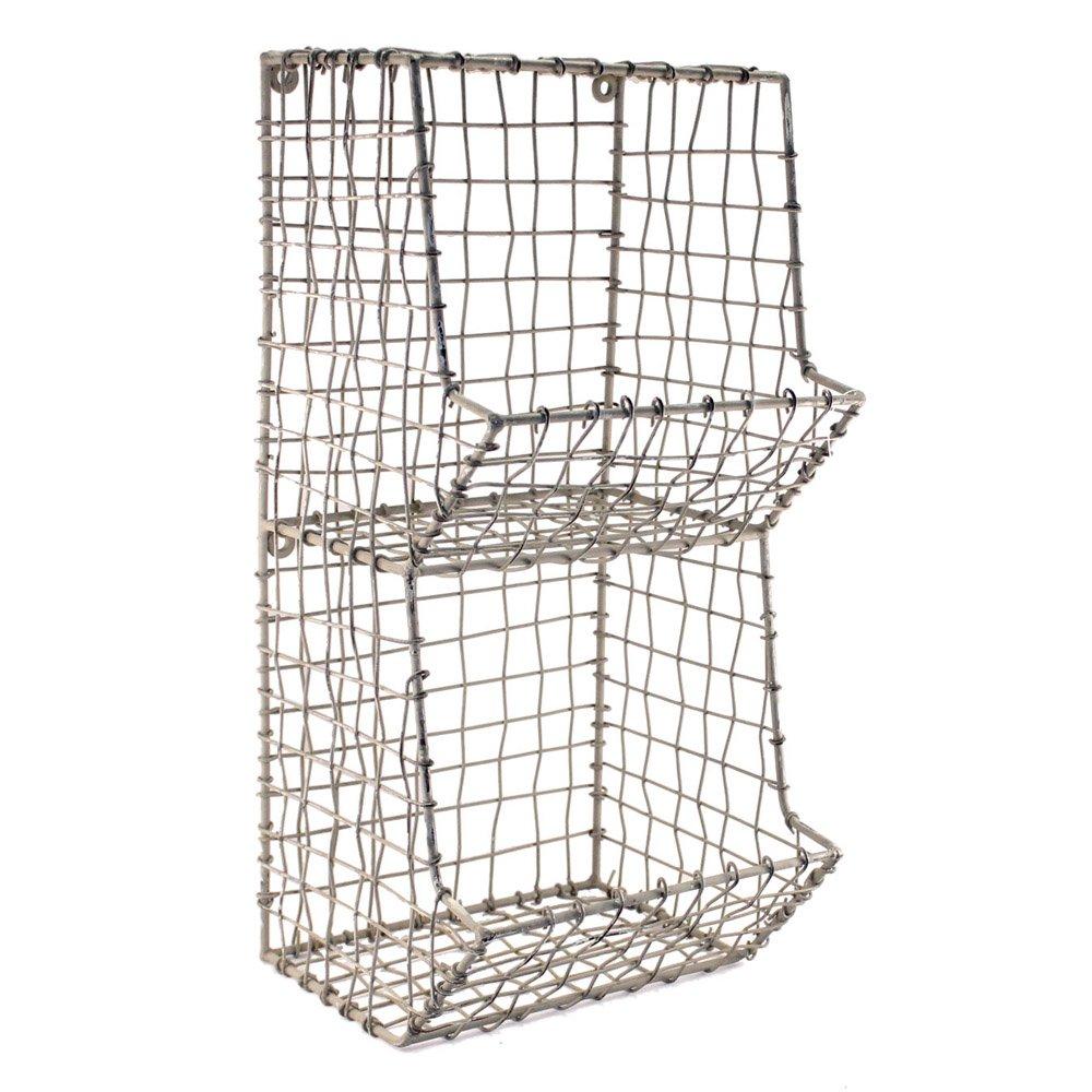 Colonial Tin Works Mini Rustic Wire General Store Wall Bin,Gray,7½''W x 7''D x 16''T