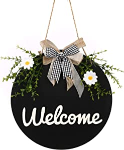 ANTS TRIBE Welcome wreath sign - farmhouse front porch decoration, welcome family sign porch hanging spring decors housewarming holiday gift home decoration 12 x 12 inches (black)
