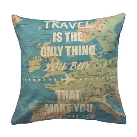 Coolsummer linen square world map cushion america map decorative coolsummer linen square world map cushion america map decorative throw pillow case cushion cover pillow slip gumiabroncs Images