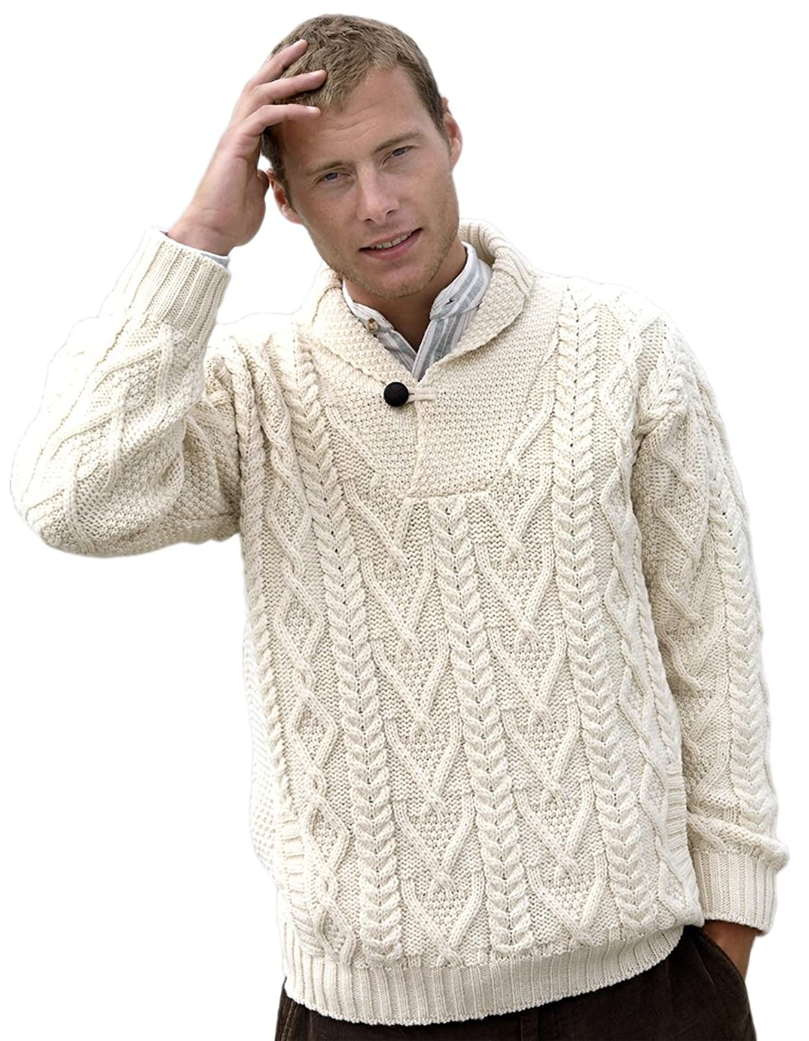 Aran Crafts Men's Shawl Collar Aran Sweater at Amazon Men's ...