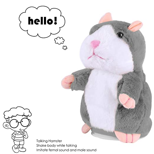 Talking Hamster Toys for Baby, Cheeky Talking Hamster Toy, Talking Hamster Repeats What You Say, Talking Stuffed Animal Valentine Gifts for Kids, Repeating Talking Plush Hamster Funny Baby Gifts