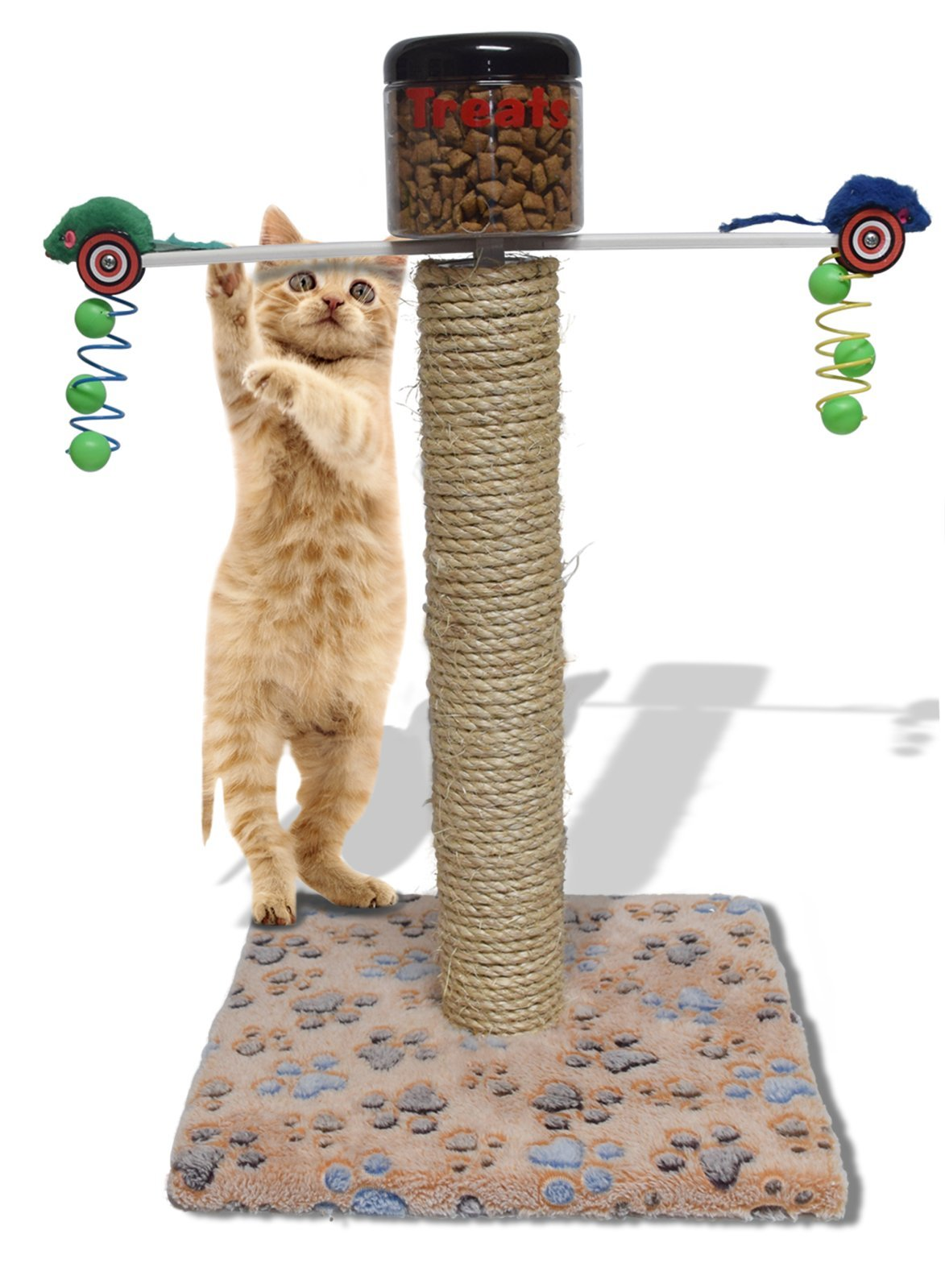 Exercise Play Toy Automatic Food Dispenser For Obese Cats Scratch Pole Sleeping Post
