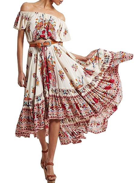 Azbro Mujer Boho Vestido Alto-bajo Estampado Floral Fuera Hombro Cuello Oblique,multi L