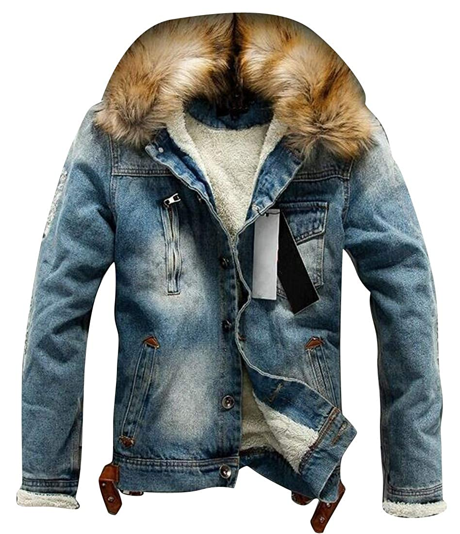 XiaoTianXinMen XTX Mens Faux Fur Collar Fall Winter Washed Warm Fleece Denim Jeans Quilted Jacket Coat Outerwear