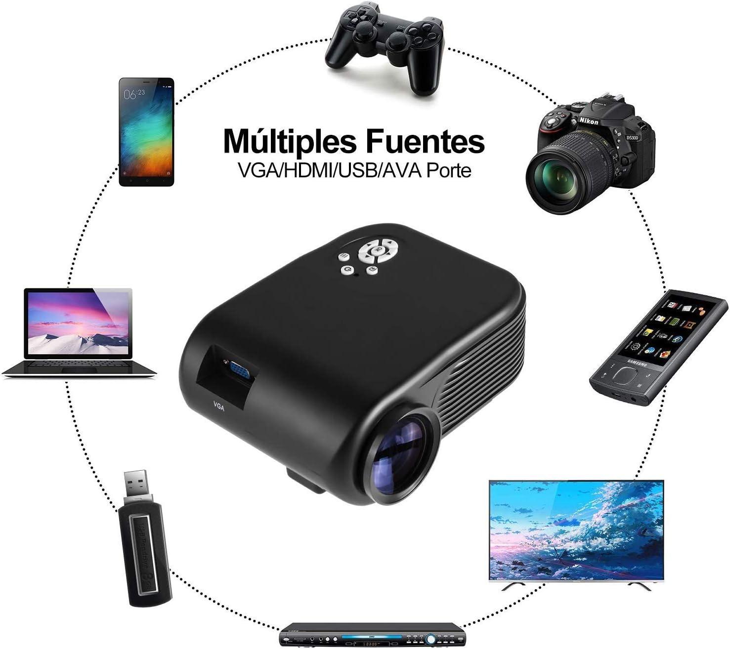 ODLICNO Mini Proyector Portátil , Multimedia Proyector de Cine en ...