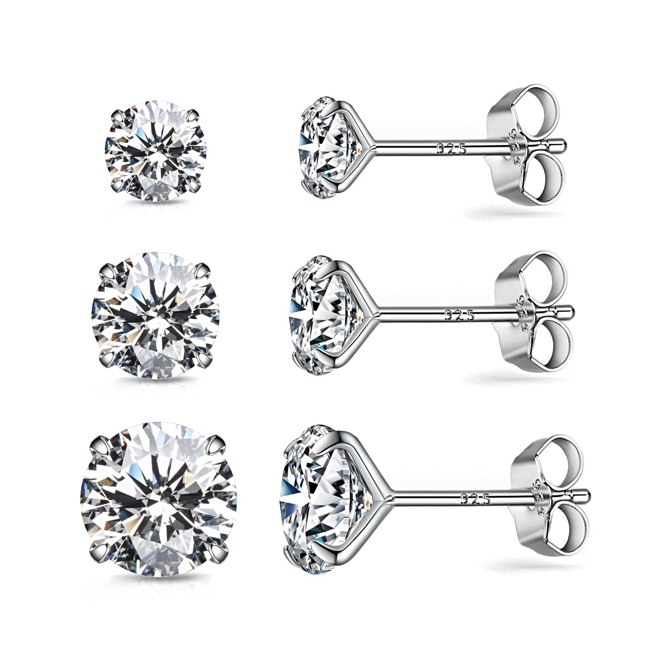 CZ Stud Earrings Sterling Silver 18K White Gold Plated Round Cubic Zirconia Hypoallergenic Set(3 Pairs)