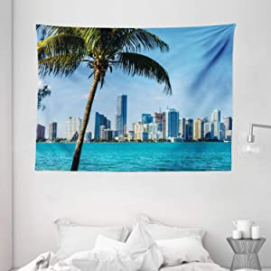 """Ambesonne Coastal Tapestry, Miami Downtown with Biscayne Bay Buildings and Palm Tree Panoramic Art, Wide Wall Hanging for Bedroom Living Room Dorm, 80"""" X 60"""", Sky Blue"""