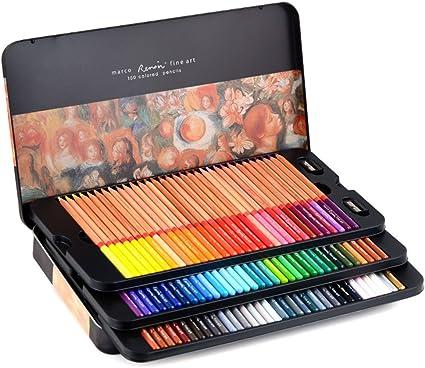 Caja de lata con lápices de colores Newdoer Marco Renoir, 100 colores al óleo para dibujar bocetos: Amazon.es: Oficina y papelería