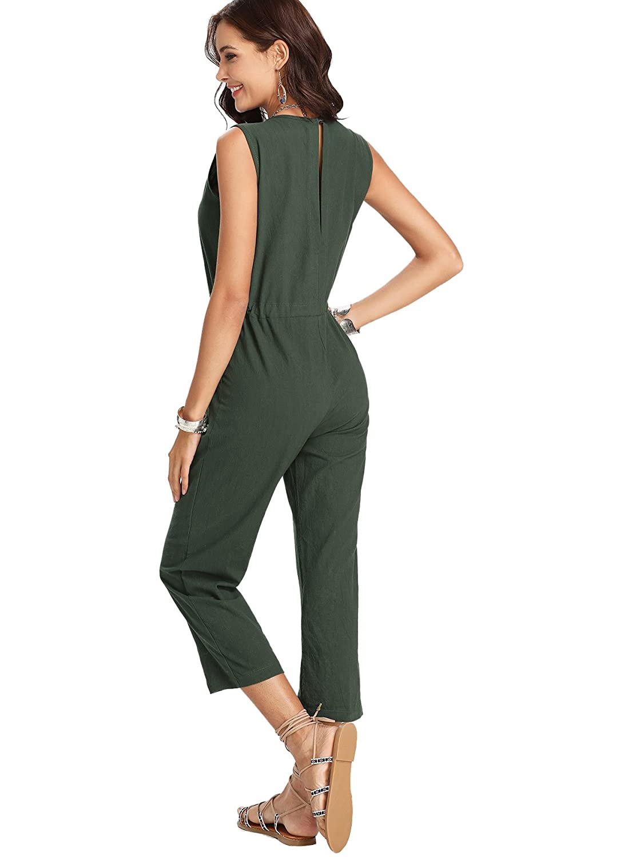 bcb90b07ce03 Amazon.com  Romwe Women s Casual Solid Jumpsuit Drawstring Waist Sleeveless  Romper  Clothing