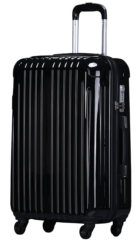ラッキーパンダ スーツケース TY001 ハード 超軽量 TSAロック ファスナータイプ 機内持込 B01AA20R46 Mサイズ(4~6日の旅行向け)|ブラック ブラック Mサイズ(4~6日の旅行向け)