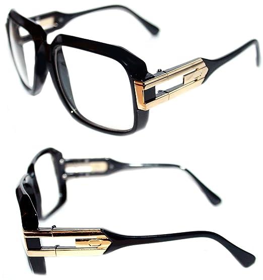 dd22d12bc4f9 Men's Hip Hop Grandmaster Vintage Retro 80's 623 Clear Lens Eye Glasses  Black Gold