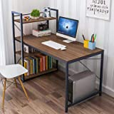 Tower Computer Desk with 4 Tier Shelves - 47.6'' Multi Level Writing Study Table with Bookshelves Modern Steel Frame…