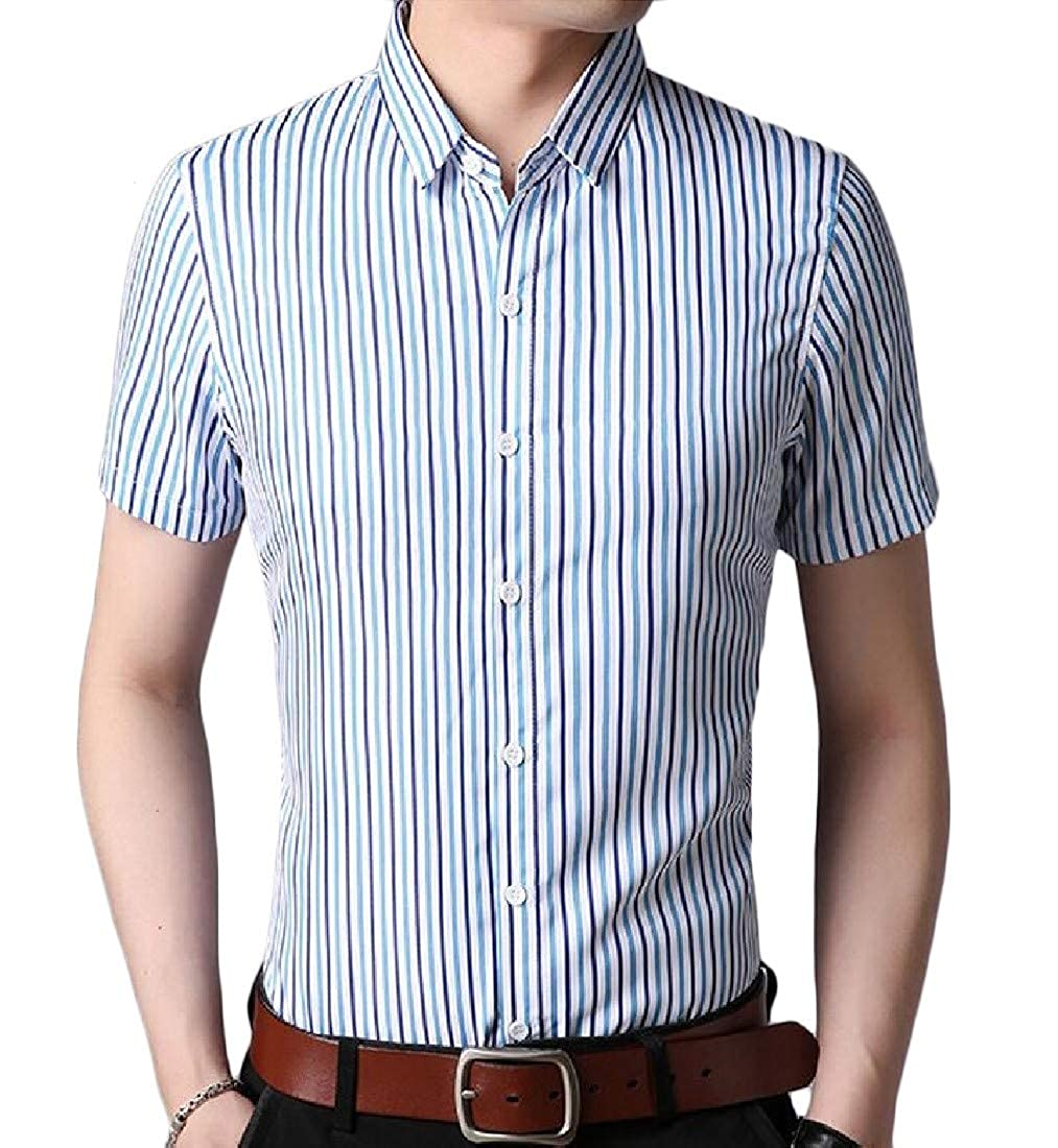 Sweatwater Mens Casual Short Sleeve Button Up Business Stripe Shirts