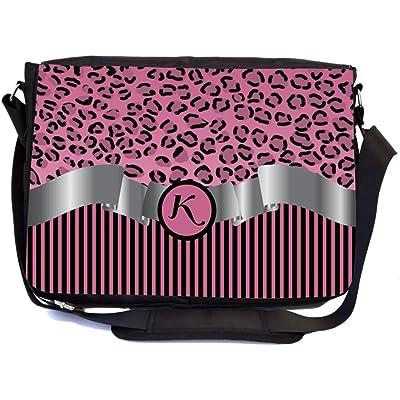 "Rikki Knight Letter ""K"" Light Pink Leopard Print Stripes Monogram Design Multifunctional Messenger Bag - School Bag - Laptop Bag - Includes Matching Compact Mirror"