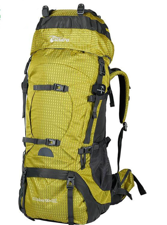 ハイキングバッグ アウトドア登山のバックパック旅行バッグ大容量60L70Lの男性と女性 ハイキングバックパック (色 : イエロー いえろ゜, サイズ さいず : 60+10L) イエロー いえろ゜ 60+10L