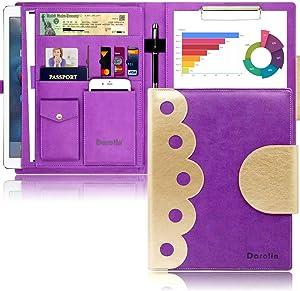 Darolin Elegant Padfolio Portfolio Case, Portfolio Organizer Folder with Clipboard, iPad/Tablet Pocket, Phone/Business Card Holder, Interview Resume Portfolio Padfolio for Women (Purple)