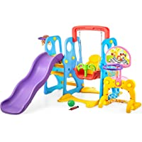 kealive Climber and Swing Set Toddler 5 in 1 Play Slide Climber Indoor Outdoor Playground Toy, 2 Basketball Hoops with Ball Game Accessories Activity Center in Backyard, for Kids Ages 3 and up