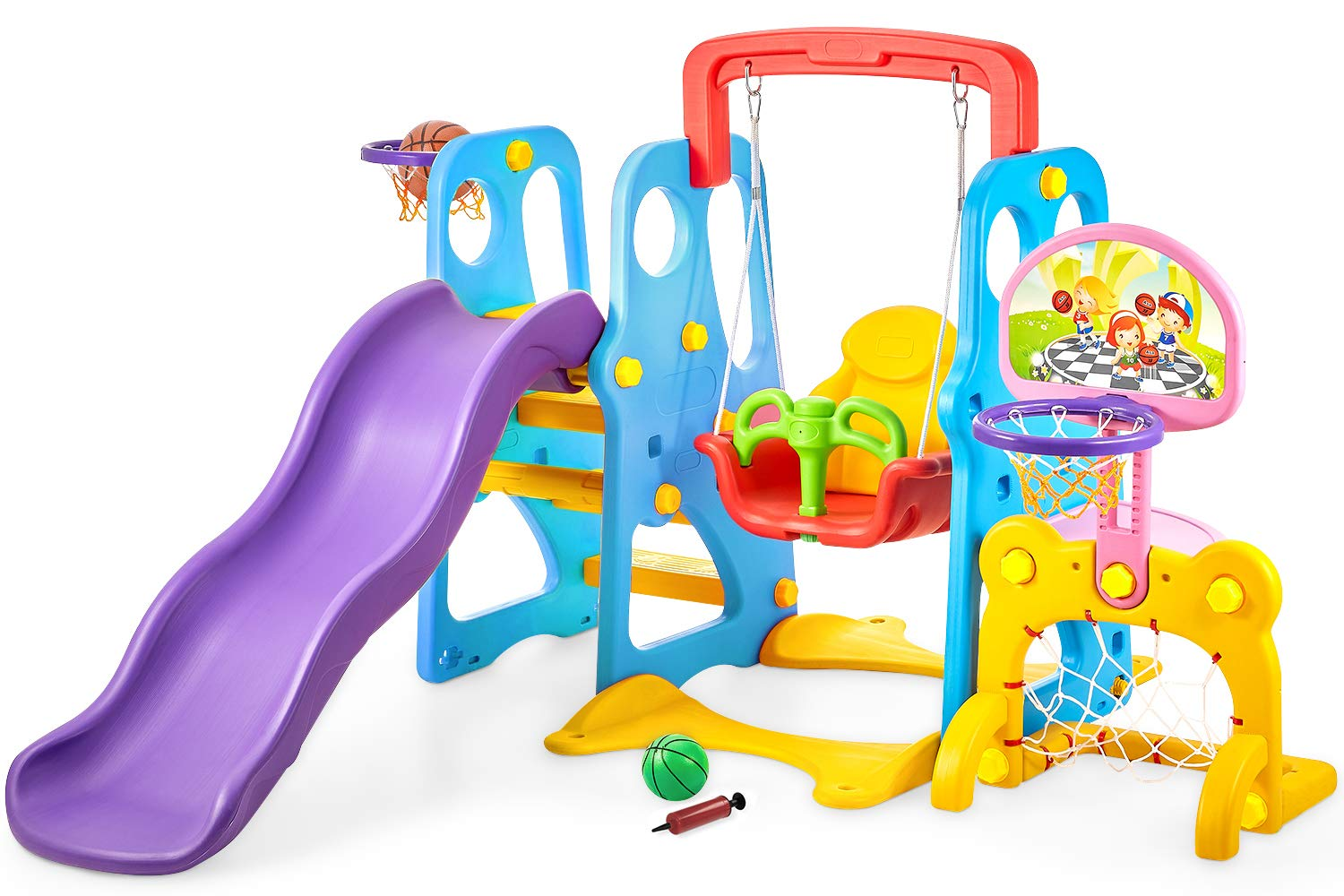 kealive Climber and Swing Set Toddler 5 in 1 Play Slide Climber Indoor Outdoor Playground Toy, 2 Basketball Hoops with Ball Game Accessories Activity Center in Backyard, for Kids Ages 3 and up by kealive
