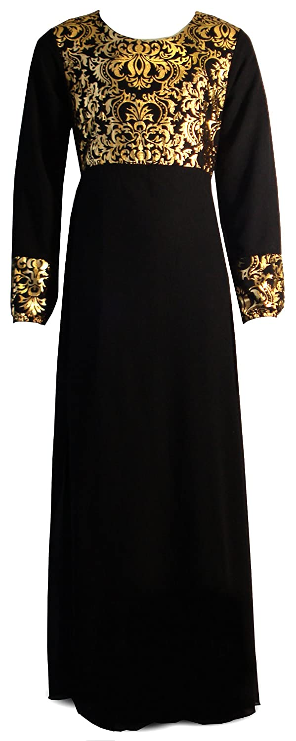 Aelstores. Girls Shiny Foil Print Long Maxi Dress Abaya Islamic Belt 3-13 Years