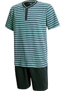 98d639d37a Moonline nightwear Schlafanzug Herren kurz Herren Pyjama kurz Herren Shorty  Schlafanzug aus 100% Baumwolle