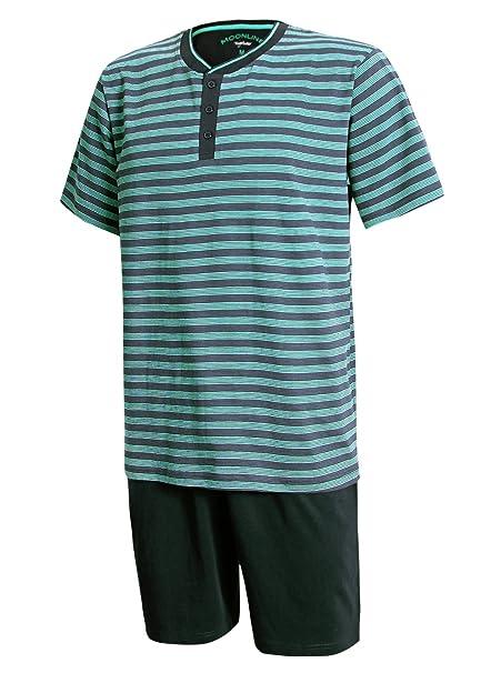 Moonline nightwear - Pijama - para Hombre Oberteil Blau Gestreift/Hose Dunkelblau Medium