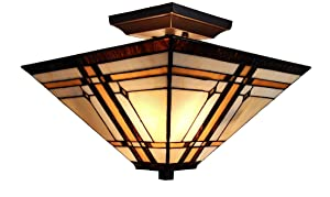 """Amora Lighting Tiffany Style Ceiling Fixture Lamp Mission 14"""" Semi Flush Mount Wide Stained Glass Tan Brown Antique Vintage Light Decor Living Room Bedroom Kitchen Hallway Gift AM085CL14B, Multicolor"""
