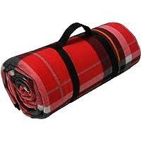 Picnic XXL–manta polar 200x 200cm rojo cuadrícula camping