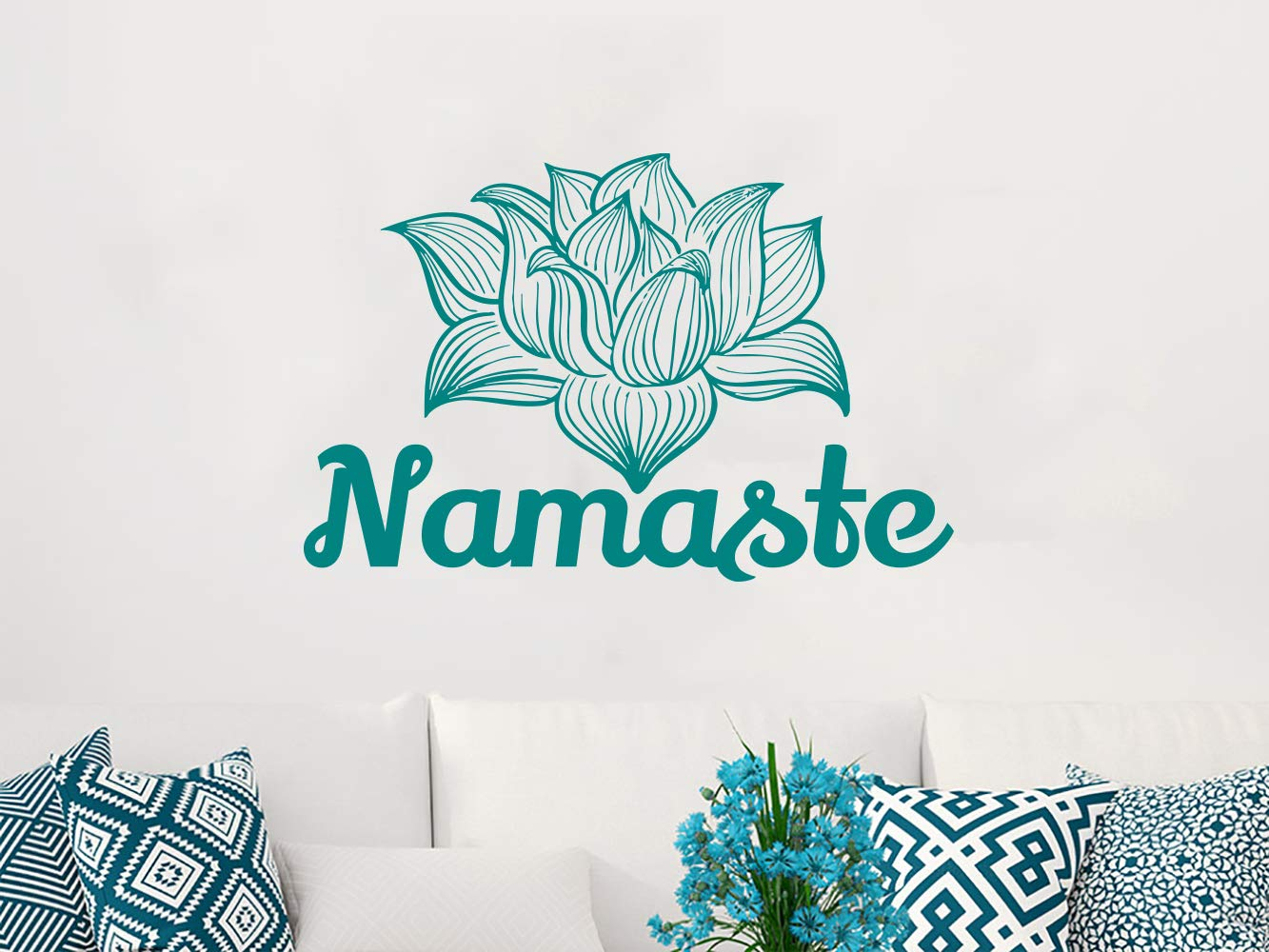 Namaste Wall Decal Vinyl Sticker Decals Lotus Flower Yoga Mandala Indian Ornament Moroccan Pattern Om Home Decor Bedroom Art Design Interior NS667