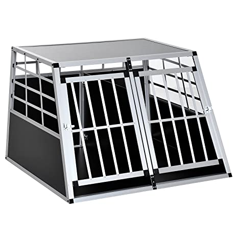 Jaula de transporte para perros, aluminio negro, 104 x 91 x 69 cm ...