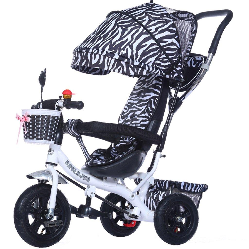 KANGR-子ども用自転車 多機能4-in-1チャイルド三輪車キッドトロリープッシュハンドルステーラー自転車折り畳み式抗UV日よけ  1-3-6歳の少年少女と赤ちゃんのおもちゃ ブレーキ付き3輪バイク ゼブラパターン ( 色 : C型 cがた ) B07BTMJ7VR C型 cがた C型 cがた