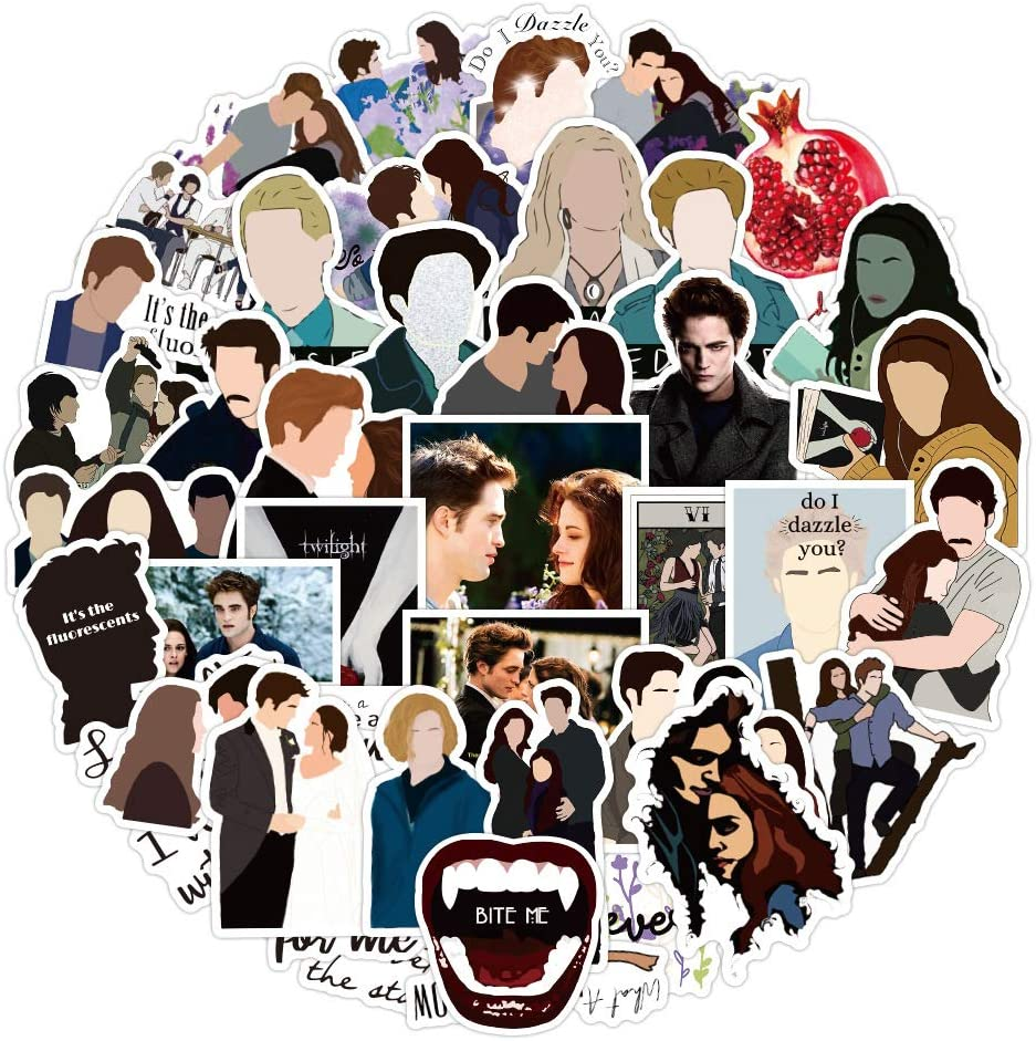 The Twilight Saga Stickers for Skateboard|50 Pack|, Cool Waterproof Decal for Teen Kid Water Bottle, Laptop, Phone, Travel Case, Bike