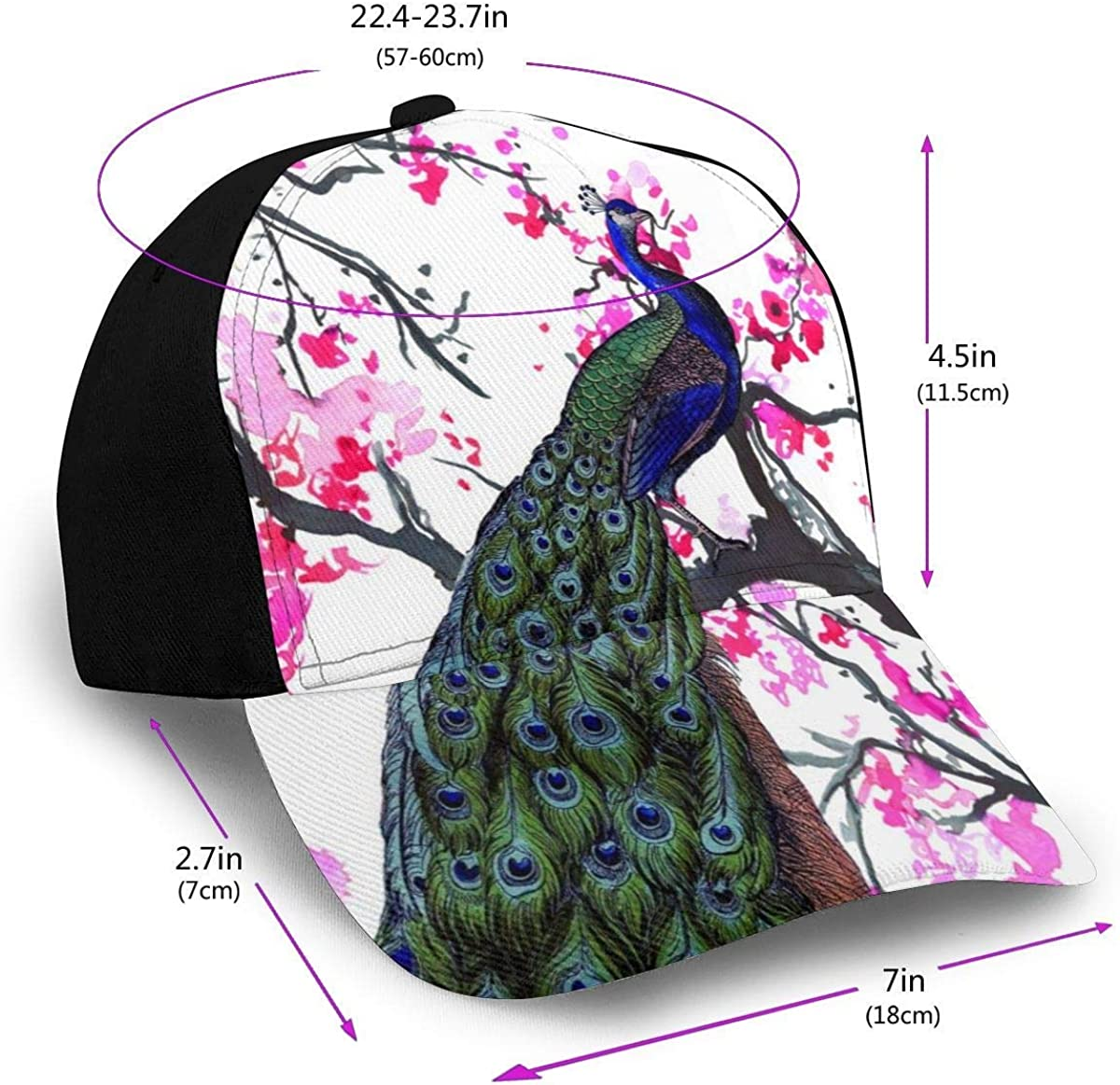 Beautiful Peacock Art with Watercolor Wintersweet Flower Lightweight Unisex Baseball Caps Adjustable Breathable Sun Hat for Sport Outdoor Black