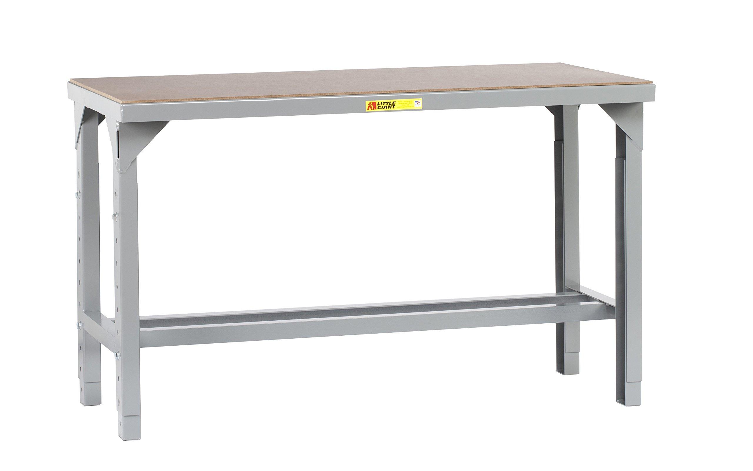 Little Giant WSH1-3048-AH Welded Steel Workbench, Hardboard over Steel Top, Open Base5000 lb. Load Capacity, 27'' - 41'' Adjustable Height x 48'' x 30'', Gray