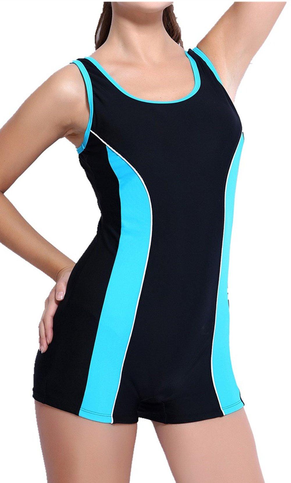 beautyin Women's One Piece Swimsuits Boyleg Sports Swimwear,Blue,4